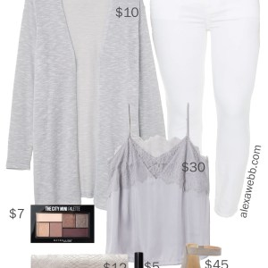 Plus Size on a Budget - Summer Date Night Outfit Idea - Plus Size Fashion for Women - white jeans, grey wedges, lace cami - alexawebb.com #plussize #alexawebb