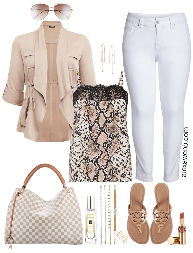 Plus Size Snake Print Top Outfit Idea - Plus Size Summer White Jeans and Sandals - alexawebb.com #plussize #alexawebb