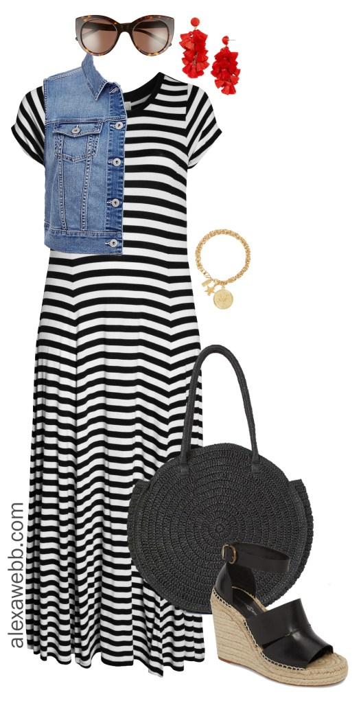 Plus Size Striped Maxi Dress - Plus Size Summer Casual Outfit Idea - alexawebb.com #plussize #alexawebb