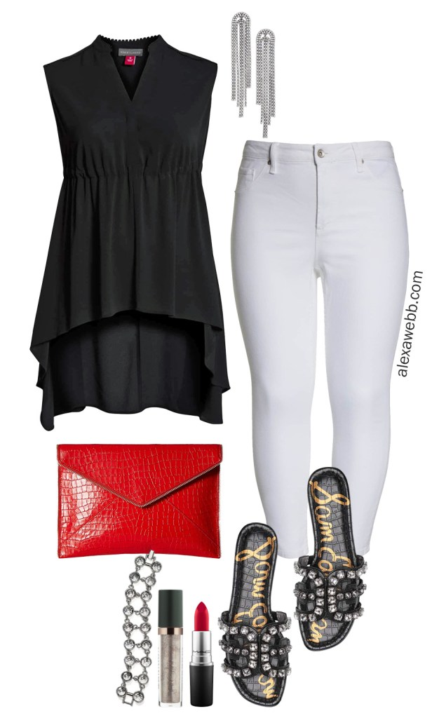 Plus Size Summer Night Out Outfit - Plus Size White Jeans, Black Tunic, Red Clutch, Crystal Sandals - Plus Size Fashion for Women - alexawebb.com #plussize #alexawebb