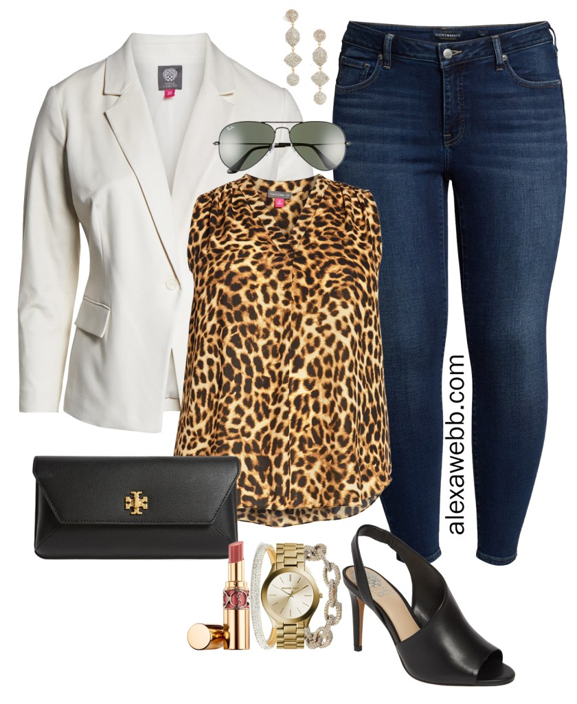 Plus Size Leopard Print Top for Night Out - Plus Size White Blazer, Leopard Top, Skinny Jeans, Heels, and Clutch - alexawebb.com #plussize #alexawebb