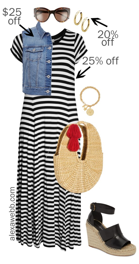 Plus Size Spring Sales -Striped Maxi Dress Outfit - alexawebb.com #plussize #alexawebb