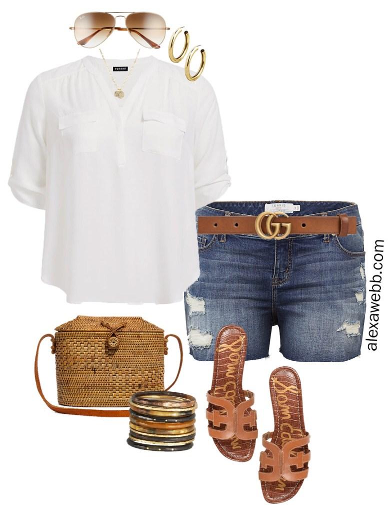 Plus Size Summer Jean Shorts Outfit Ideas- Plus Size Denim Shorts, White Shirt, Gucci Belt, Sandals, Straw Bag - Plus Size Fashion for Women - alexawebb.com #plussize #alexawebb