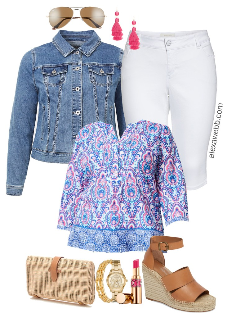 Plus Size Summer Tunic Outfit - Casual Outfit with Denim Jacket, White Capri Jeans, Rattan Clutch, Espadrille Sandals, Tassel Earrings, and Bamboo Bracelets - alexawebb.com #plussize #alexawebb