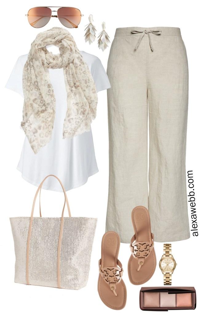Plus Size Linen Pants Outfit - Scarf, T-Shirt, Sequin Tote, Tory Burch Miller Sandals , Aviator Sunglasses - Plus Size Summer Neutral Outfit - alexawebb.com #plussize #alexawebb Alexa Webb