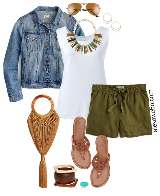 Plus Size Linen Shorts Outfit - Plus Size Green Linen Shorts, Tank Top, Denim Jacket, Sandals - alexawebb.com #plussize #alexawebb