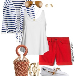 Plus Size Nautical Outfit - Plus Size Summer Casual Vacation Outfit - alexawebb.com #plussize #alexawebb