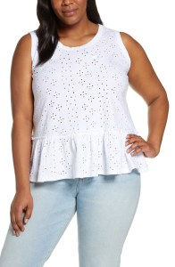 Plus Size Eyelet Peplum Top - Plus Size Fashion for Women - alexawebb.com #plussize #alexawebb