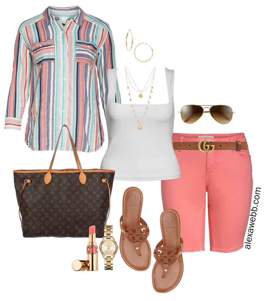 Plus Size Striped Shirt and Shorts - Plus Size Summer Casual Outfit - Plus Size Fashion for Women - alexawebb.com #plussize #alexawebb