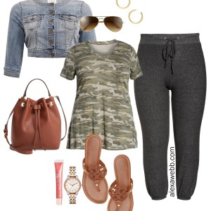 Plus Size Summer Athleisure - Plus Size Camo T-Shirt, Denim Jacket, Sweatpants Joggers, Sandals, Bucket Bag - alexawebb.com #plussize #alexawebb
