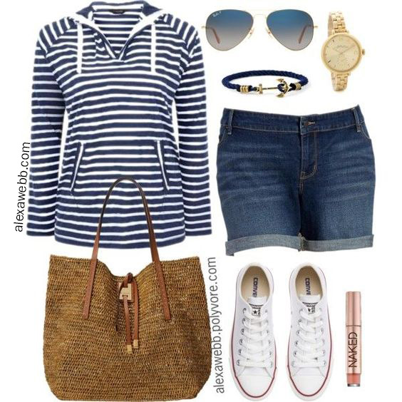 Plus Size Summer Nautical Outfit - Plus Size Denim Shorts, Navy Sweatshirt, Converse Sneakers, Straw Tote, Anchor Bracelet, Watch, Aviator Sunglasses - alexawebb.com #plussize #alexawebb