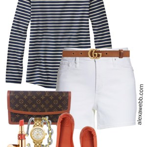 Plus Size White Shorts Casual Outfit - Striped Tank T-Shirt, White Shorts, Gucci Belt, Louis Vuitton Clutch, Orange Flats - Plus Size Preppy Outfit Idea - alexawebb.com #plussize #alexawebb Alexa Webb