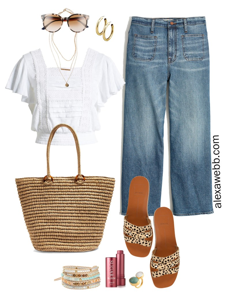 Plus Size Wide Leg Cropped Jeans with a cropped top, leopard sandals, straw tote - Plus Size Summer Outfit Idea - alexawebb.com #plussize #alexawebb