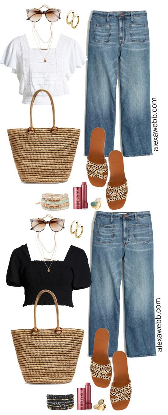 Plus Size Wide Leg Cropped Jeans with a black crop top, leopard sandals, straw tote - Plus Size Summer Outfit Idea - alexawebb.com #plussize #alexawebb