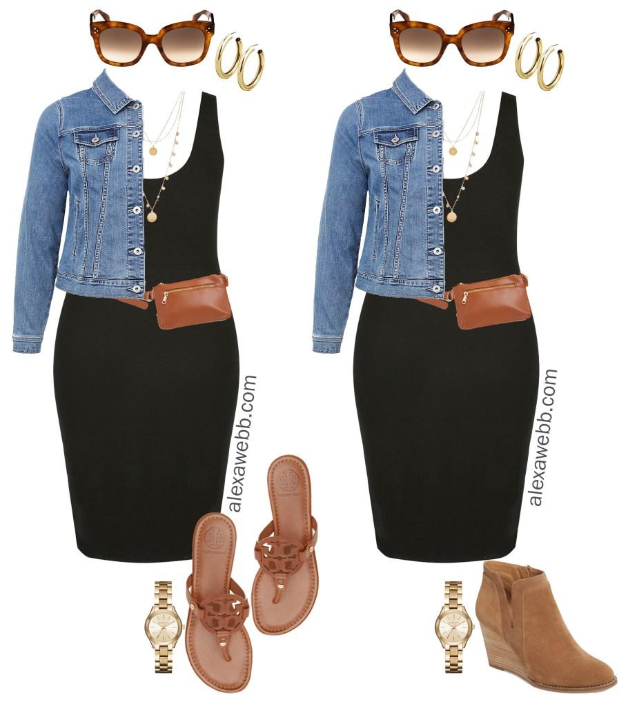 Plus Size Black Bodycon Dress Outfit Ideas - Denim Jacket, Plus Size Belt Bag, Coin Necklace, Sandals - alexawebb.com #plussize #alexawebb Alexa Webb
