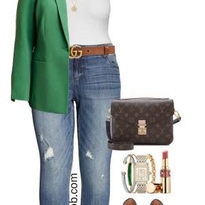 Plus Size Casual Green Blazer Outfit - Bodysuit, Boyfriend Jeans, Leopard Heels, Gucci Belt - alexawebb.com #plussize #alexawebb
