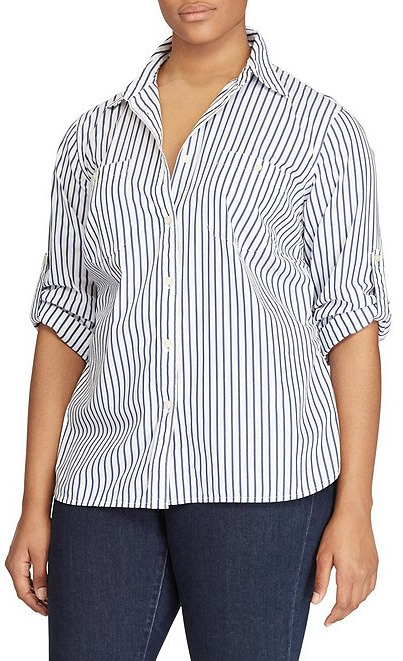 Plus Size Striped Shirt with roll-up sleeves - alexawebb.com #plussize #alexawebb