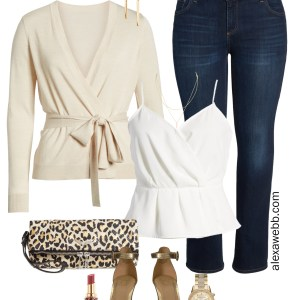 Plus Size Summer Date Night Outfit - Dark Bootcut Jeans, Beige Cardigan, White Cami Top, Leopard Clutch, Gold Sandals - Plus Size Fashion for Women - alexawebb.com #plussize #alexawebb