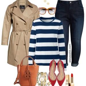 Plus Size Preppy Striped Top Outfit Ideas - Plus Size Tench Coat, Navy Striped T-Shirt, Boyfriend Jeans, Red Flats - Plus Size Fashion for Women for Fall - alexawebb.com #plussize #alexawebb