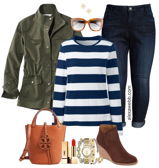 Plus Size Preppy Striped Top Outfit Ideas - Plus Size Utility Jacket, Striped T-Shirt, Boyfriend Jeans, Bucket Bag, Ankle Booties - Plus Size Fashion for Women for Fall - alexawebb.com #plussize #alexawebb