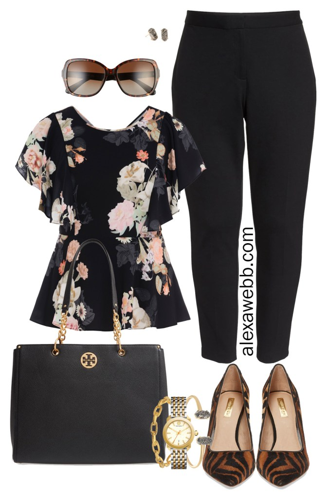 Plus Size Fall Work Outfits - Plus Size Black Pants and Floral Top - Zebra Heels - Nordstrom Anniversary Sale - alexawebb.com #plussize #alexawebb #Nsale