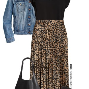Nordstrom Anniversary Sale 2019 – Plus Size Outfits - Denim Jacket, Black Top, Leopard Pleated Skirt, Snake Bag, Cut-out Sandals - alexawebb.com #plussize #alexawebb
