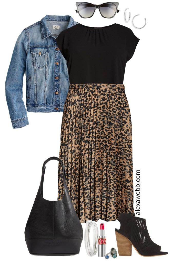 Nordstrom Anniversary Sale 2019 – Plus Size Outfits - Denim Jacket, Black Top, Leopard Pleated Skirt, Snake Bag, Cut-out Sandals - alexawebb.com #plussize #alexawebb