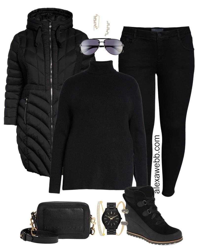 Plus Size Black Jeans Outfit - Plus Size Black Turtleneck, Plus Size Puffer Coat, Leggings, Booties, Crossbody Bag, Aviator Sunglasses - Plus Size Fashion for Women - alexawebb.com #plussize #alexawebb #NSale