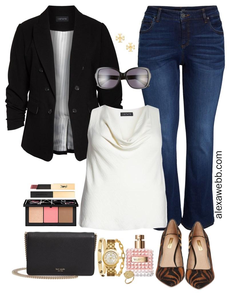 Plus Size Black Blazer Outfit - Bootcut Jeans, Leopard Heels, Chain Bag, Plus Size Fashion for Women - alexawebb.com #plussize #alexawebb