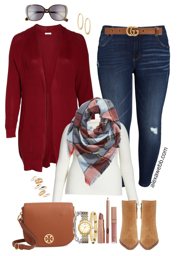 Nordstrom Anniversary Sale 2019 – Plus Size Outfits - Plus Size Burgundy Cardigan, Blanket Scarf, Dark Skinny Jeans, T-Shirt, Tote Bag, Ankle Booties - alexawebb.com #plussize #alexawebb