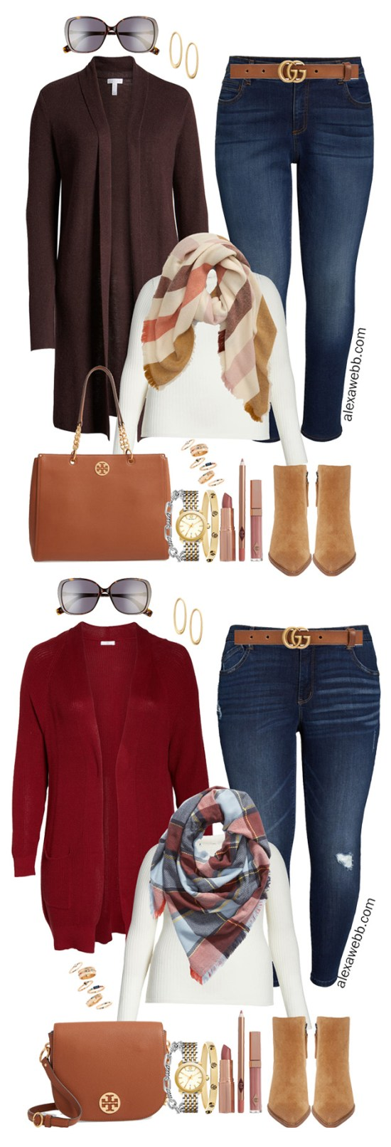 Nordstrom Anniversary Sale 2019 – Plus Size Outfits - Plus Size Burgundy Cardigan, Blanket Scarf, Dark Skinny Jeans, T-Shirt, Tote Bag, Ankle Booties - alexawebb.com #plussize #alexawebb