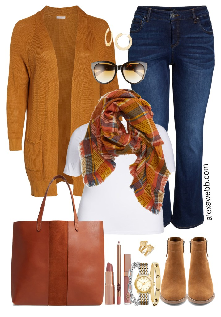 Nordstrom Anniversary Sale 2019 – Plus Size Outfits - Plus Size Rust Cardigan, Blanket Scarf, Dark Bootcut Jeans, T-Shirt, Tote Bag, Ankle Booties - alexawebb.com #plussize #alexawebb