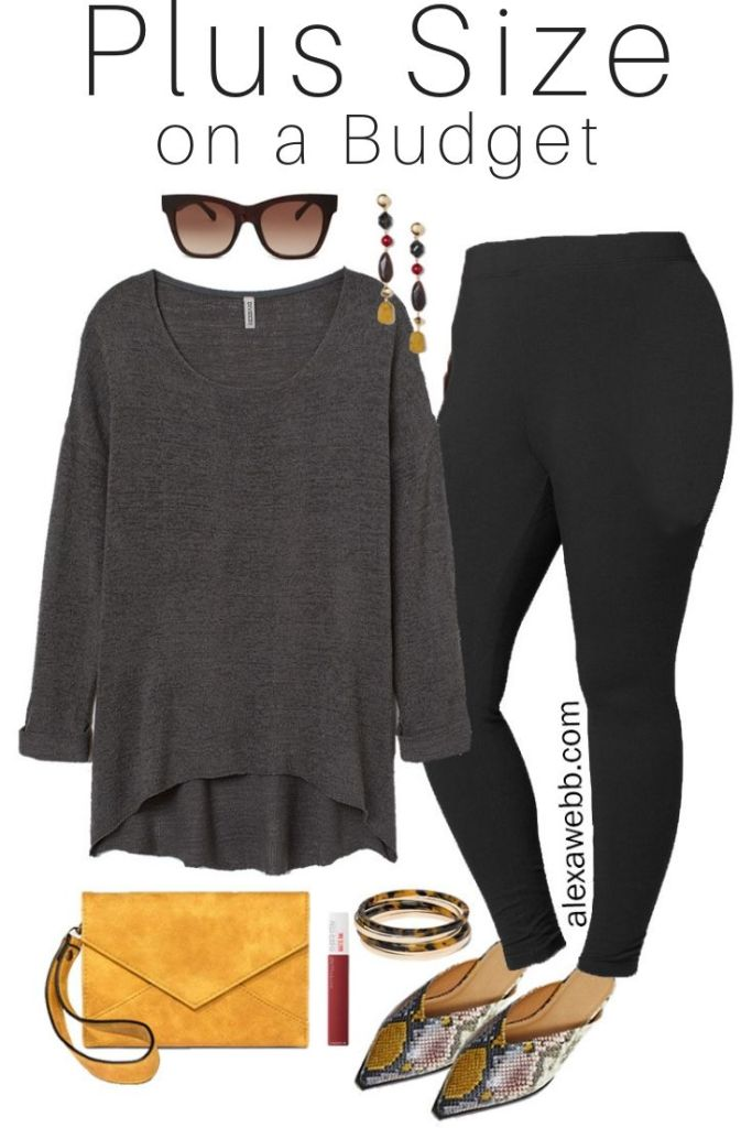Plus Size on a Budget – Stylish Comfort - Plus Size Black Leggings, Grey Sweater, Snake Mules in Wide Width - Fall Outfit Idea - Plus Size Fashion for Women - alexawebb.com #plussize #alexawebb