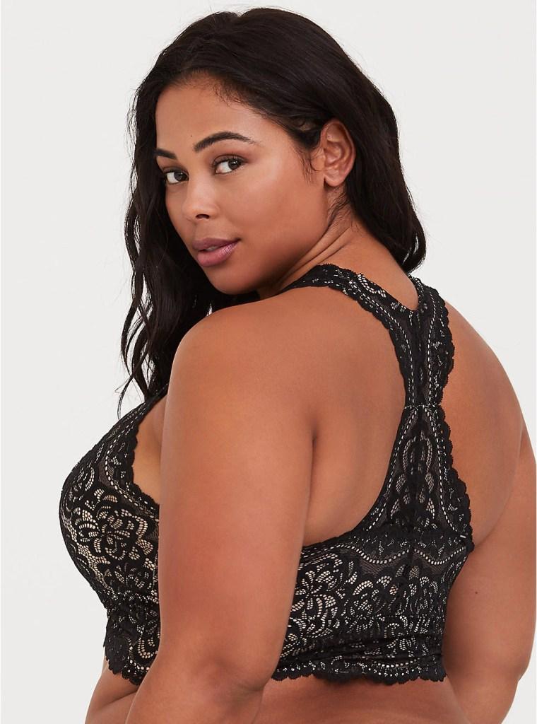Plus Size Sexy Lacy Racer-Back Bralette - Alexawebb.com #plussize