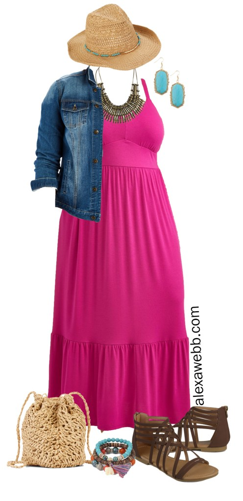 Plus Size Casual Summer Dress - Denim Jacket, Sandals in Wide Width, Cowboy Hat, Boho Jewelry - Plus Size Fashion for Women - alexawebb.com #plussize #alexawebb