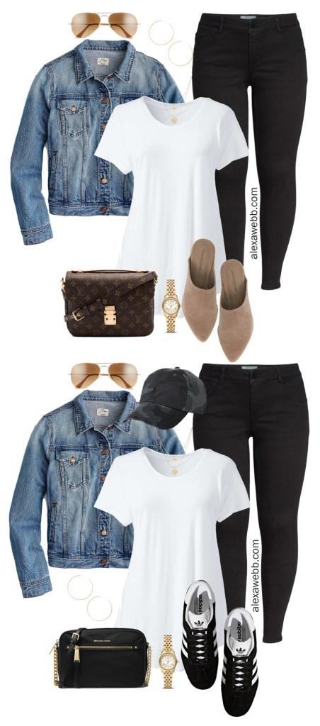 Plus Size Black Jeans Outfits - Denim Jacket, T-Shirt, Suede Mules, Louis Vuitton Bag, Aviator Sunglasses - alexawebb.com #plussize #alexawebb