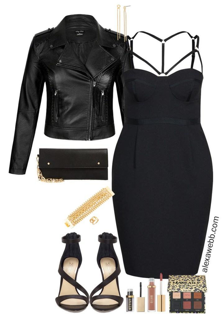 Plus Size Date Night LBD - Black Bodycon Dress - Faux Leather Jacket - Plus Size Fashion for Women - alexawebb.com #plussize #alexawebb