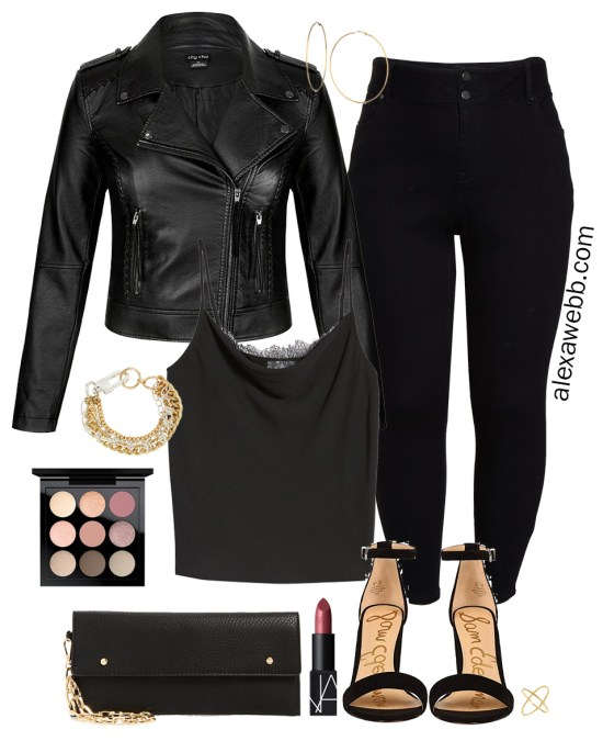Plus Size Fall Monochromatic Basics Capsule Wardrobe - Plus Size Date Night Outfit, Leather Jacket, Jeans, Lace Cami, Heeled Sandals - alexawebb.com #plussize #alexawebb