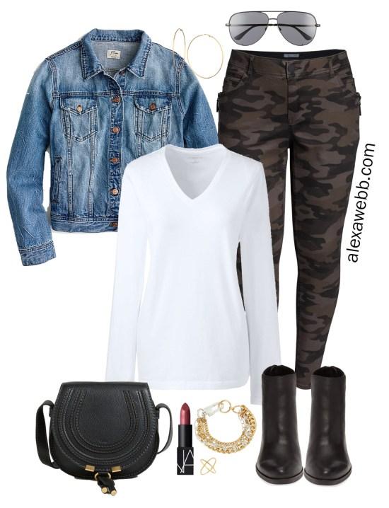 Plus Size Fall Monochromatic Basics Capsule Wardrobe - Plus Size Camo Pants, Ankle Booties - alexawebb.com #plussize #alexawebb