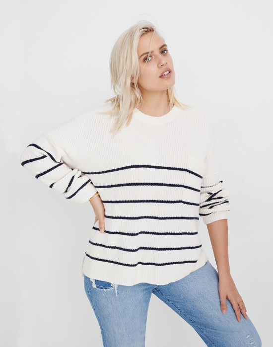 Plus Size Madewell Striped Sweater - alexawebb.com #plussize #alexawebb