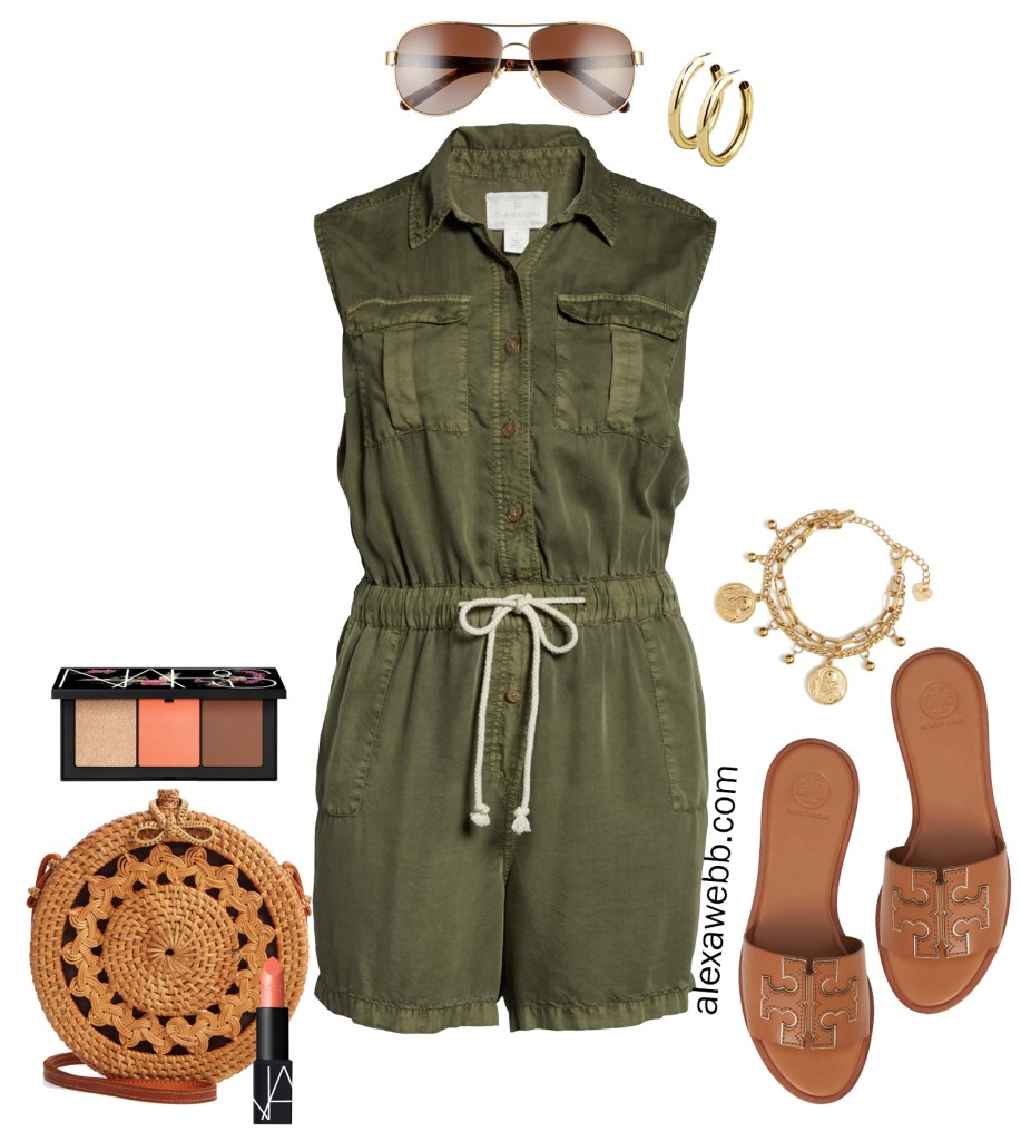 Plus Size Olive Green Utility Romper - Summer Outfit Idea - alexawebb.com #plussize #alexawebb