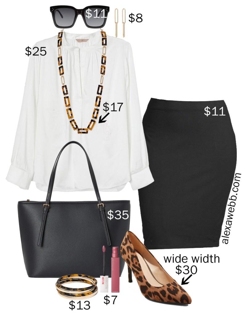 Plus Size on a Budget - Work Basics - Pencil Skirt, Blouse, Leopard Pumps, Tote Bag - alexawebb.com #plussize #alexawebb