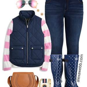 Plus Size Preppy Fall Outfit - Stripe Top, Vest, Wide Calf Rain Boots, Skinny Jeans - alexawebb.com #plussize #alexawebb