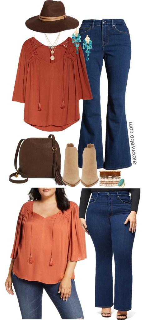 Plus Size Fall Boho Outfit - Plus Size Rust Peasant Top, Flare Jeans, Floppy Hat - alexawebb.com #plussize #alexawebb