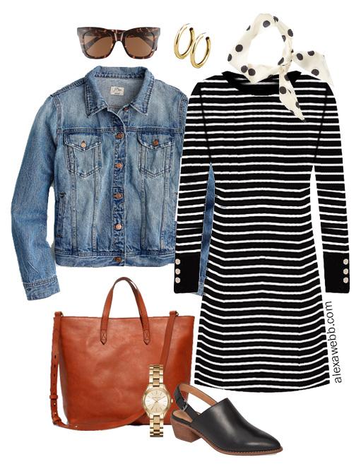 Plus Size Striped Sweater Dress Outfit - Dots, Mules, Denim Jacket, Madewell Tote - Fall Layers - alexawebb.com #plussize #alexawebb