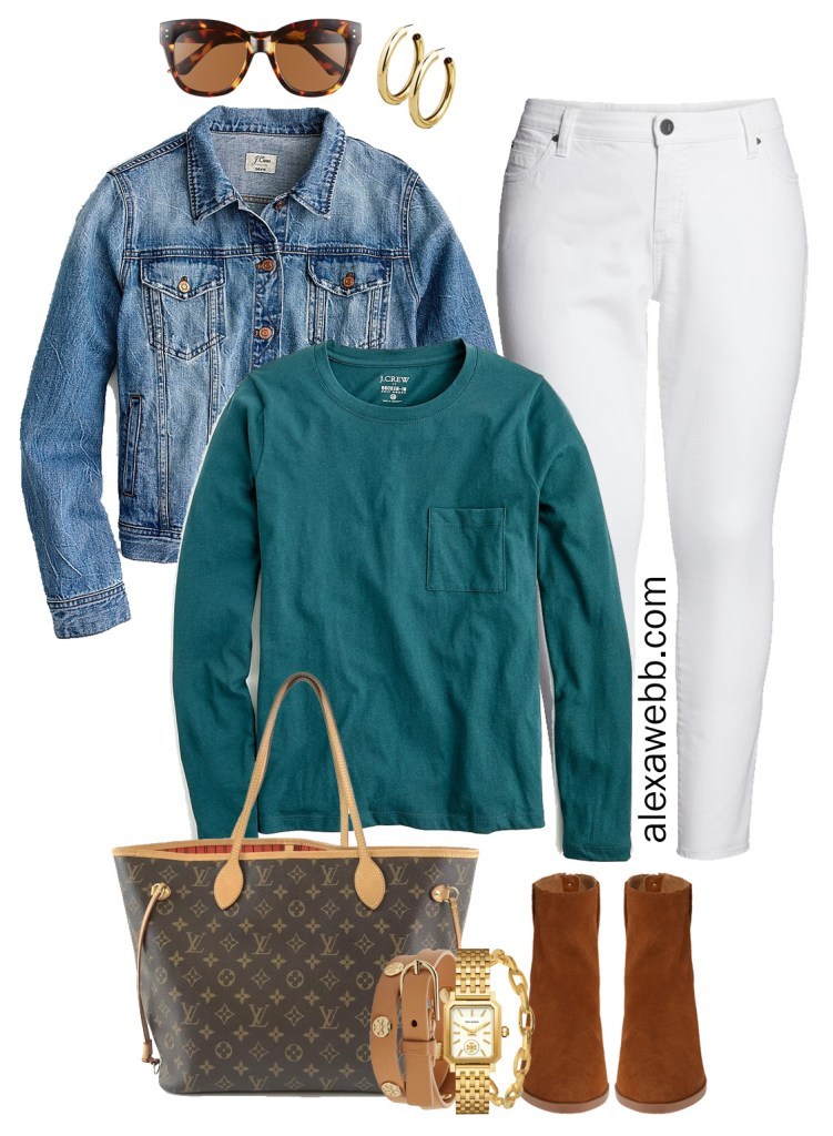 Plus Size White Jeans in Fall - Denim Jacket, T-Shirt, Louis Vuitton Neverfull Bag, Ankle Booties - alexawebb.com #plussize #alexawebb
