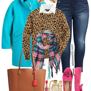 Plus Size Fall Brights Outfit - Aqua Coat, Leopard Sweater, Plaid Scarf, Pink Loafers, Jeans, Tory Burch Tote - Alexa Webb #plussize #alexawebb