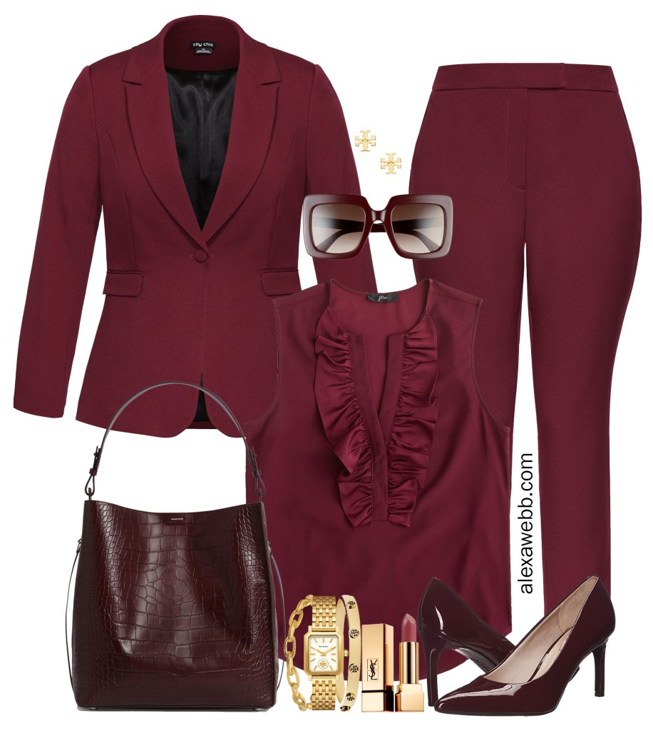 Plus Size Fall Pant Suit Outfits for Work - Burgundy Suit Monochromatic with Ruffle Top - Styled 5 Ways #plussize #alexawebb