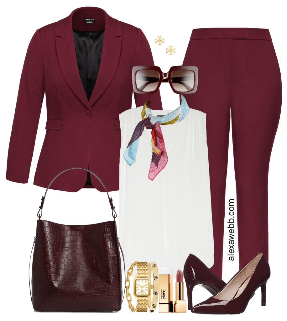 Plus Size Burgundy Pant Suit Outfits for Work - Burgundy Suit Styled 5 ways #plussize #alexawebb