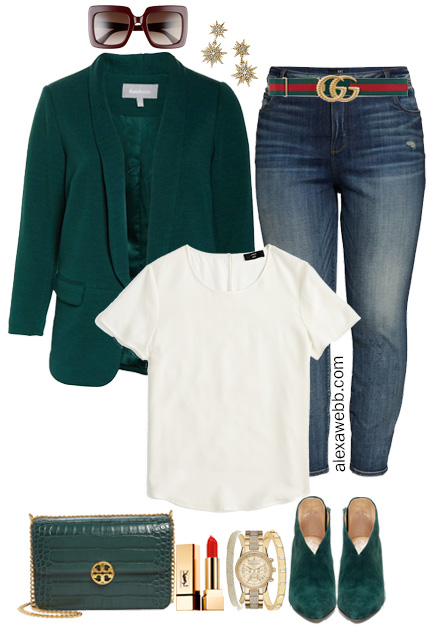 Plus Size Green Blazer and Jeans and Gucci Belt Styled with Green Booties - Plus Size Fall Fashion for Women - Alexa Webb #plussize #alexawebb